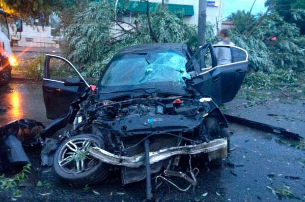 Автоледи на БМВ протаранила столб иснесла дерево вЧелябинске
