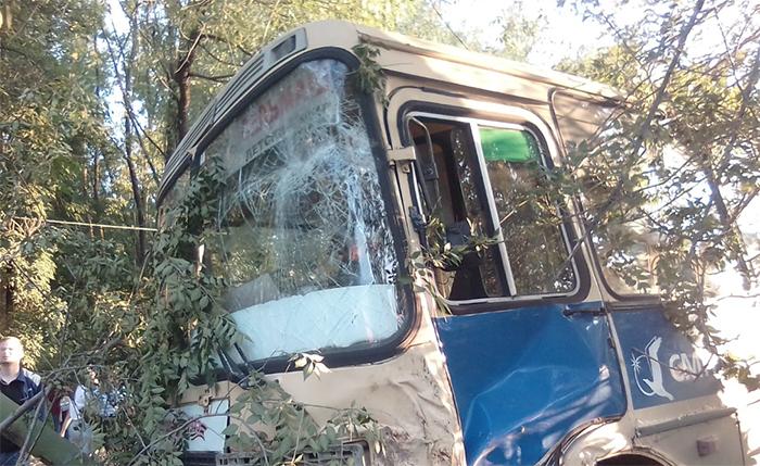 В Челябинске маршрутка врезалась в ограждение парка