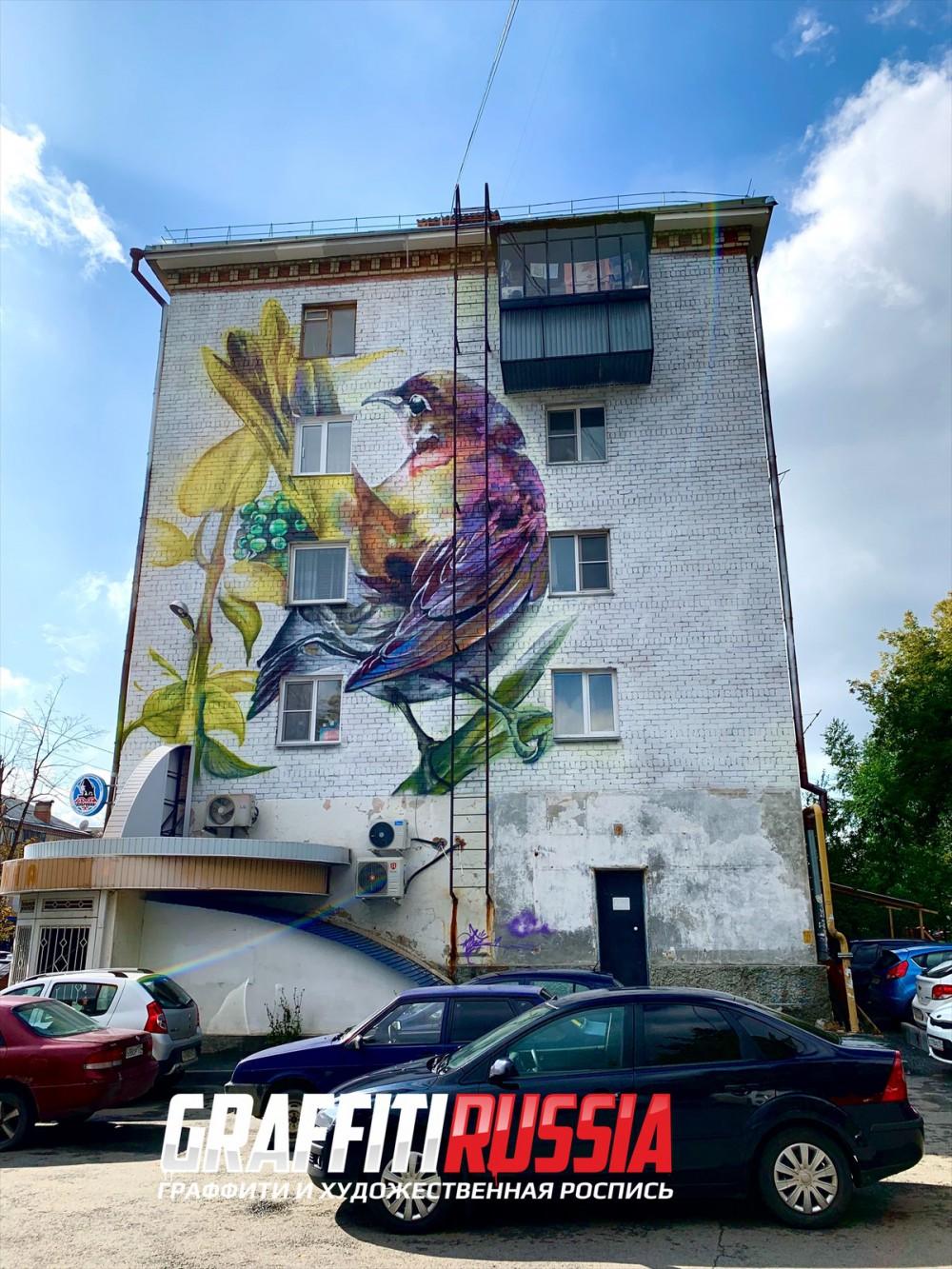 В центре Челябинска на стене пятиэтажки появилась гигантская птица